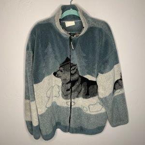 Vintage Wolf Graphic Fuzzy Fleece Jacket